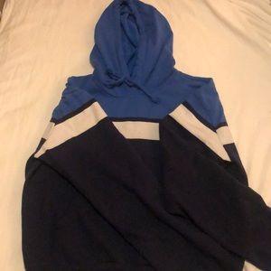 blue striped hoodie